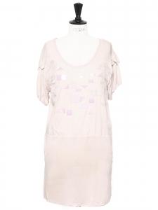 Robe printemps été 2008 en coton et soie rose pâle boutique 1200€ Taille S