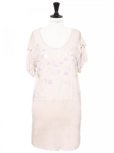 Spring summer 2008 light pink silk and cotton short dress Retail price €1200 Size S