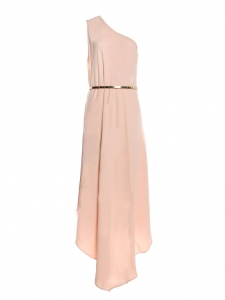 Gold metal belted One-Shoulder powder pink stretch crepe cocktail dress Retail price €1100 Size 40