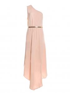 Robe de cocktail asymétrique en crêpe stretch rose poudre ceinturé doré Prix boutique 1100€ Taille 40