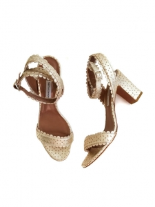 LETICIA Gold floral laser cut leather block heel sandals Retail price €625 Size 39