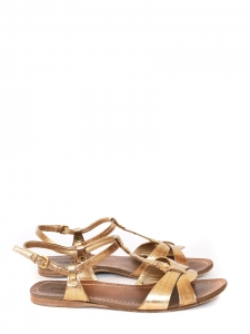 Gold metallic leather flat sandals with ankle strap Retail price €550 Size 36
