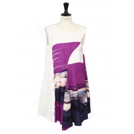 Purple graphic print white silk sleeveless dress Retail price €1800 Size 36