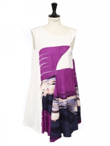 CHLOE Purple printed white silk dress worth €1800 Size 36