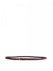Thin purple patent leather belt with mini bronze buckle