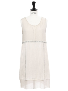 Ecru white pleated silk dress embroidered with Swarovski crystals Retail price €2000 Size 34