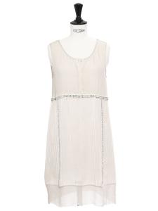 Ecru white pleated silk dress embroidered with Swarovski crystals Retail price €2000 Size 34