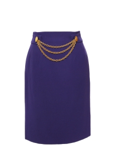 Dark purple high waist pencil skirt embellished with a gold chain Size 36
