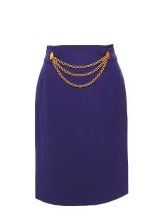 Jupe crayon taille haute en crêpe violet et chaîne dorée Taille 36