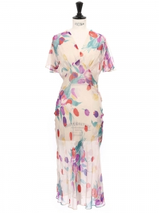 Mid-length multi-color floral print silk veil dress Size 34