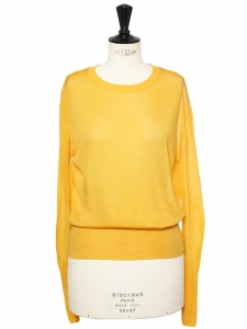 Round neckline sunflower yellow knit sweater Retail price £240 Size 36
