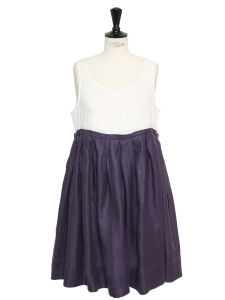 Purple and white cotton and linen dress NEW Retail price €350 Size 36/38