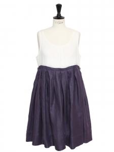 Robe en coton et lin blanc et parme NEUVE Prix boutique 350€ Taille 36/38