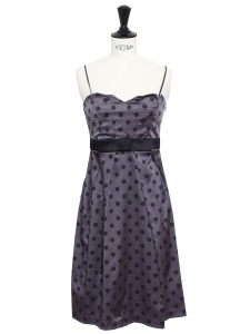Dark purple and black polka dot satin dress with thin straps, heart shape neckline and bow belt Size XS