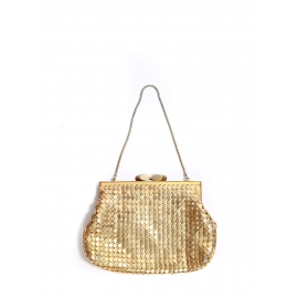 Small gold metal evening handbag with gold chain strap