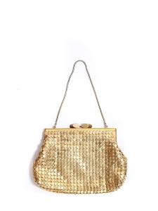 Petit sac à main du soir métallisé doré anse chaîne
