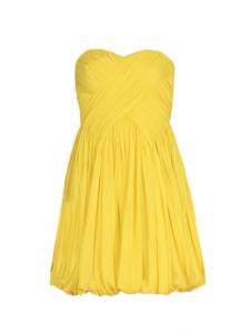 TIBI Robe de cocktail bustier en mousseline de soie plissée jaune Px boutique 550€ Taille 34
