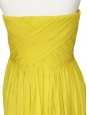 Yellow pleated silk chiffon strapless cocktail mini dress Retail price € 550 Size 34