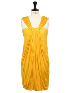 Golden yellow draped cocktail dress with large strap Retail price €1000 Size 36