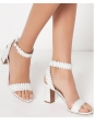 LETICIA White scalloped-leather block heel sandals NEW Retail price €625 Size 39