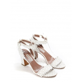 LETICIA White scalloped-leather block heel sandals Retail price €625 Size 39