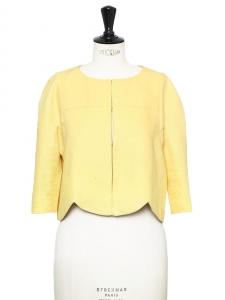 Soft yellow linen touch short bolero jacket Retail price €1100 Size 36