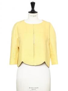 Veste boléro scalloped toucher lin jaune doux Px boutique 1100€ Taille 36