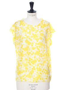 Bright yellow and white printed silk sleeveless top Retail price €350 Size 38