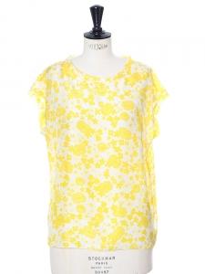 Top sans manches en soie à imprimé fleuri jaune et blanc Px boutique 350€ Taille 38