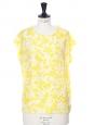 Bright yellow and white printed silk sleeveless top Retail price €350 Size 38