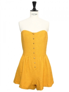 Sunny yellow cotton crepe strapless playsuit Retail price €365 NEW Size S/M