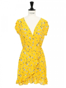 Sunflower yellow, blue and white flower print V neck wrap dress with ruffles Size S