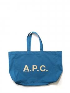 Sac cabas en toile de coton bleu cyan signature A.P.C blanche