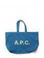 Cyan blue canvas cotton cabas bag with A.P.C white signature