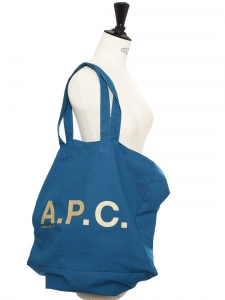 Cyan blue canvas cotton cabas bag with A.P.C white signature