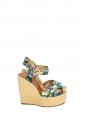 Sandales à talon compensé espadrilles en jute et tissu imprimé fleuri Px boutique 795€ Taille 36,5