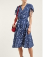Clare blue and white polka dot short sleeves belted dress Retail price $325 Size 36