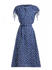 Robe Clare en lin et coton à pois bleu et blanc manches courtes ceinturées Prix boutique $325 Taille 36