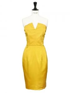Robe de cocktail bustier en soie jaune safran Px boutique 2300€ Taille 34