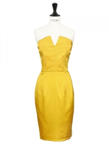 Saffron yellow silk strapless cocktail dress Retail price €2300 Size XS