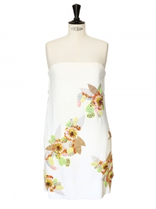 Multicolor flowers embroidered white silk strapless dress Retail price 3000€ Size 38