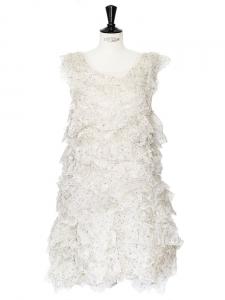 Robe de mariée à volants en organza de soie crème Px boutique 2500€ Taille 36