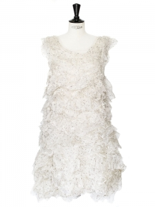 Ruffled cream silk organza wedding dress Retail price €2500 Size 36