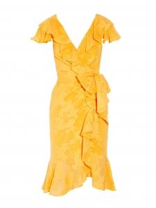Robe à volants décolleté V en jacquard georgette fleuri jaune tournesol Prix boutique 2300€ Taille 36