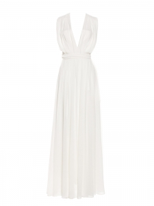 Deep V maxi dress in white pleated crepe Retail price €630 Size XS