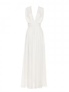Robe longue décolleté V en crêpe plissé blanc Prix boutique 630€ Taille XS