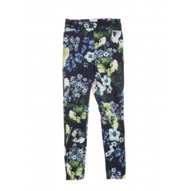 Navy blue yellow green and white floral print cropped trousers Retail price €1200 Size 34