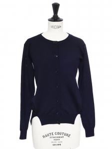 Gilet col rond en fine laine bleu marine Prix boutique 600€ Taille 34/36