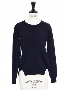 Navy blue thin wool crew neck cardigan Retail price €600 Size 34/36