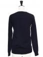 Navy blue thin wool crew neck cardigan Retail price €600 Size 34/36
